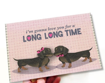 Printable PDF Cute Dachshund Dogs In Love Romantic Card Pink, Brown, Hearts Clever Card