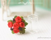 Dollhouse Miniature Flowers - Red Peonies Bouquet