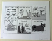 Halloween Costumes for Two Cats - Limited Edition Hey Pais Print