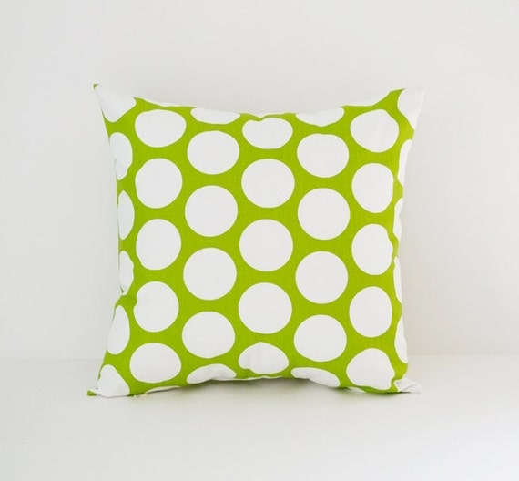 Decorative Pillows For Bed Green : Items similar to Pillow Cover Decorative Pillows Throw Pillows Green Pillow Large Polka Dot ...