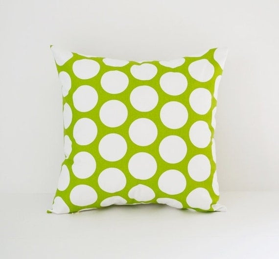 Decorative Throw Pillows Etsy : Items similar to Pillow Cover Decorative Pillows Throw Pillows Green Pillow Large Polka Dot ...