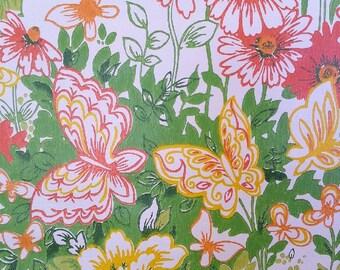 vintage wallpaper - butterfly -  yellow green orange - butterfly fields - per yard - FOLDED