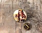 "Alice in Wonderland ""Drink me"" lapel pin tie tack button - Steampunk Bronze tone round badge - Alice in Wonderland jewelry"