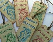 Season's Greetings Ice Skates Gift Tag Set, Handmade, Holiday Vintage Inspired Christmas, Victorian, Holiday Hang Tags, Hangtags, Distressed