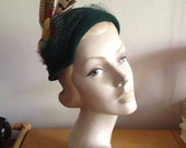 1930s Forest Green Feathered Cap Hat