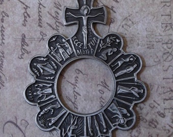 15 Mysteries Rosary Ring Ave Maria World War II Era Italian Pewter Prayer Tenner With Crucifix, Blessed Virgin Mary Mother Of God One Decad