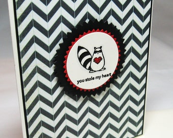 You Stole My Heart Chevron Valentine with Raccoon for Your Favorite Fella