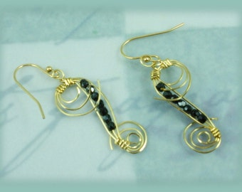 Black Crystal with 14K Gold-filled Wire Wrap Earrings
