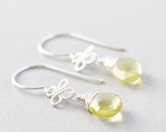 Yellow Quartz Dangle Earrings, Sterling Drop Earrings, Yellow Earrings