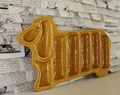 VINTAGE ceramic DOG hot dog holder