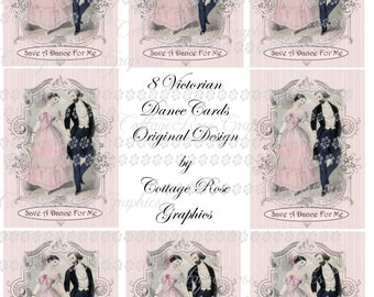Victorian Couple Dance Card digital download collage Vintage Pink  Roses ATC ACEO gift tags ECS buy 3 get one free