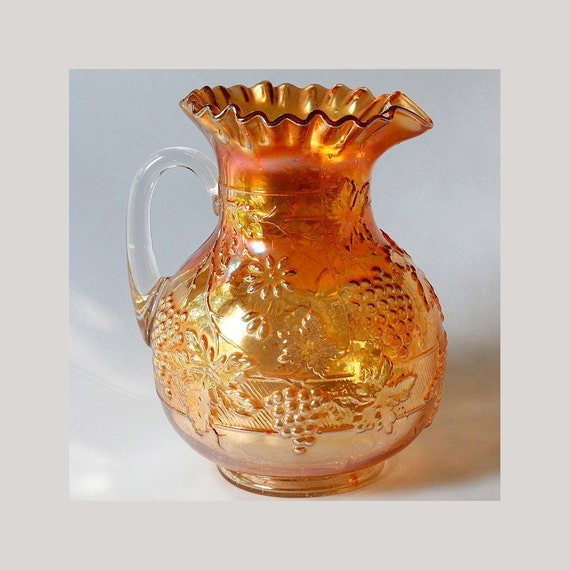 Dugan Floral Grape Carnival Glass Pitcher Marigold By Charmings