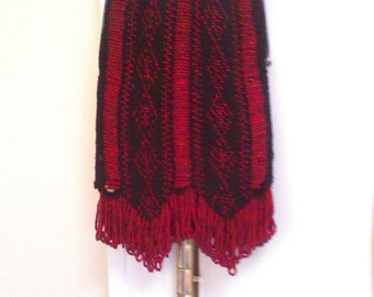 Ruby on Black Bead Knitted Purse