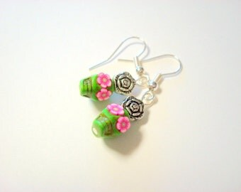 Tiny 10mm Pink and Green Day of the Dead Sugar Skull Earrings