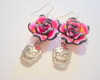Pink and Black Rose and Silver Sugar Skull Day of the Dead Earrings
