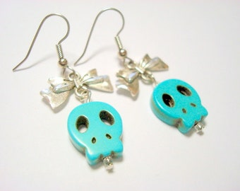 Turquoise Sugar Skull in Silver Bows Day of the Dead Earrings