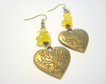 Antique Brass Yggdrasil Tree of Life and Heart Earrings