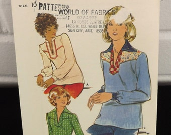 Vintage 70's Sewing Pattern, Loose Fitting Misses' Top Long Sleeves Boho Shirt Tunic Neckline Slit Standing Collar Butterick 4491 Size 10
