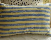 CoTTaGe Down PiLLow/SHaBBy CHiC FRenCH STriPE/YeLLoW and BLuE/Lumbar Pillow/Porch Pillow/Beach Decor/Decorative Pillow