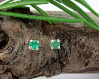 Emerald Earrings in Sterling Silver with Genuine Emeralds, 3mm Studs - Free Gift Wrapping