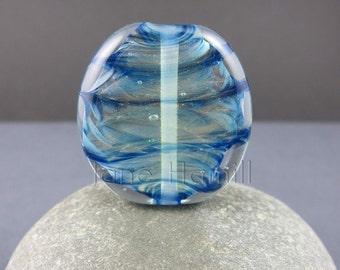 """Blue glass bead, blue glass focal bead, lampwork bead, art glass bead, blue lampwork bead, pendant bead, """"Flow"""" art glass pendant or focal"""