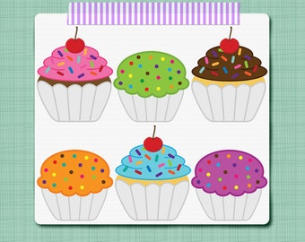 Cupcake Clip Art Birthday Clip Art - Digital Scrapbooking Elements - Personal and Commercial Use INSTNAT DOWNLOAD