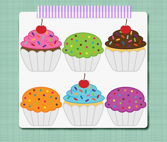 Cupcake Clip Art Birthday Clip Art - Digital Scrapbooking Elements ...