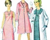 1960s Dress Pattern Coat Pattern Simplicity 6412 Mod Sleeveless A Line Dress Scalloped Collar Coat Womens Vintage Sewing Pattern Bust 32 1/2