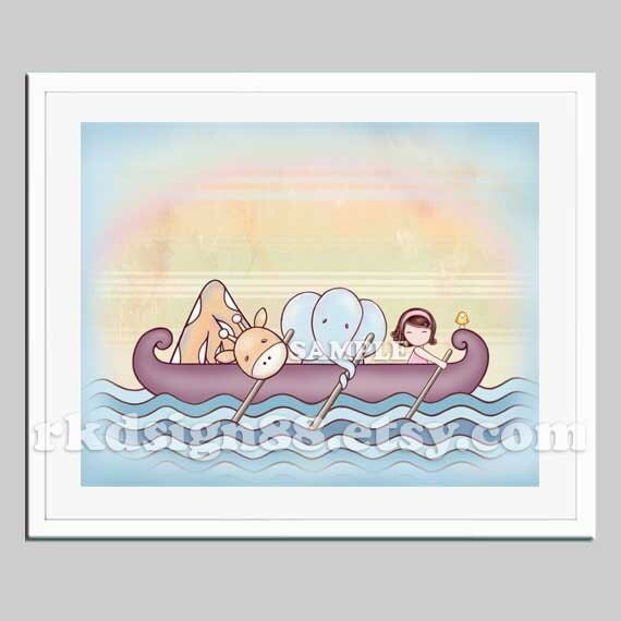Nursery art prints, baby girl nursery decor, safari animals, kids wall art, girls room decor, row boat, brown Stronger 8x10