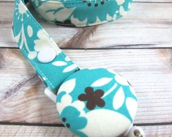 Lanyard Fabric Lanyard with Retractable Badge Reel - ID Badge Holder - Teal Floral