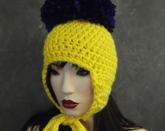 Crochet Hat,Ear Flap Hat,Yellow Hat,Accessory,Hats & Caps,Women,Children,Girls