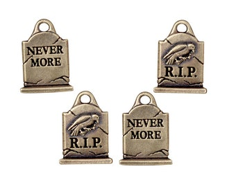 Grave Stone Charms - Antique Brass Charms 20mm - Gravestone RIP R.I.P Raven Nevermore Charms TierraCast  Halloween Bronze Charms (P1158)