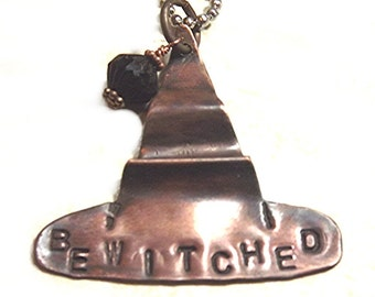 Bewitched Antiqued Copper Witch Hat Necklace