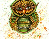 Green Yellow Whimsical Owl  Print from my original illustration 8x10 by Tanya Besedina