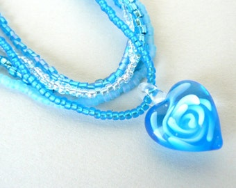 Turquoise Heart Pendant, Multi Strand Beaded Necklace, Aqua Glass Heart Jewelry, Glass Rose Heart Pendant, Turquoise Jewelry, Summer Jewelry