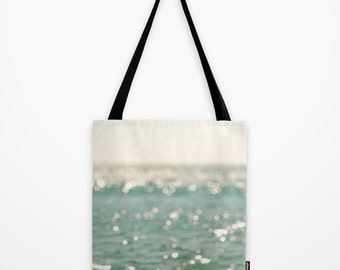 tote bag, shopping bag, market tote, beach bag, beach photography, bokeh, sparkle, blue green holiday bag, gym bag, ocean, grocery tote