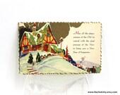 1920s Christmas Bungalow Cottage Postcard, Metallic & Zig Zag Edge