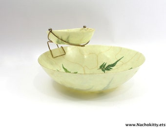 1960s Chip & Dip Bowl Set | Retro Ferns and Butterfly Design