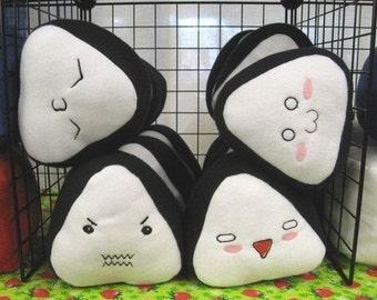 Blushing Nori Seaweed Onigiri Japanese Rice Ball Plush