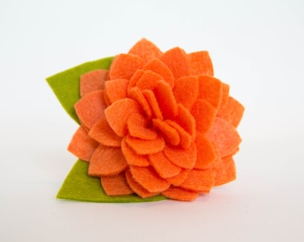 Flower for Dog Collar - Orange Dahlia