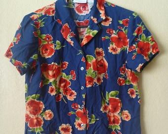 vintage 80's blue floral hawaiian blouse/shirt