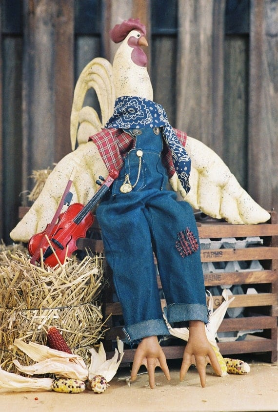 Cloth Doll E-Pattern - 27in Country Rooster epattern