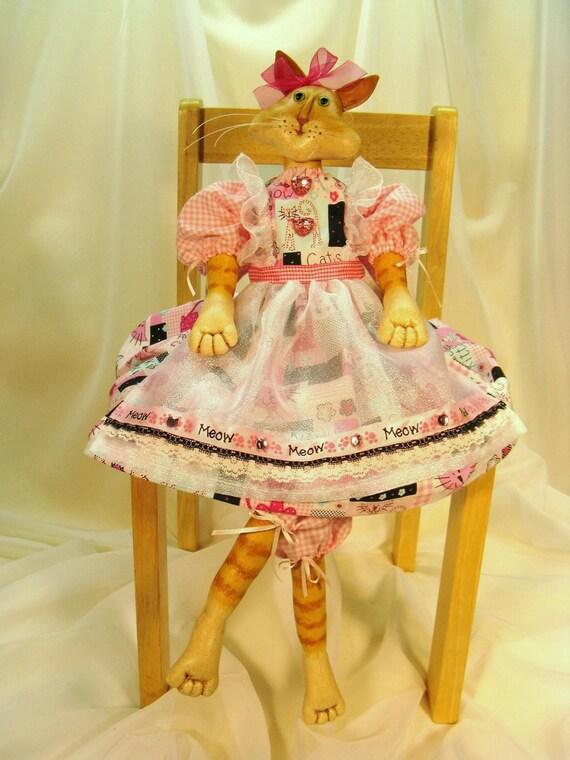 Cloth Doll E-Pattern - Beautiful Art Doll Cat E-pattern