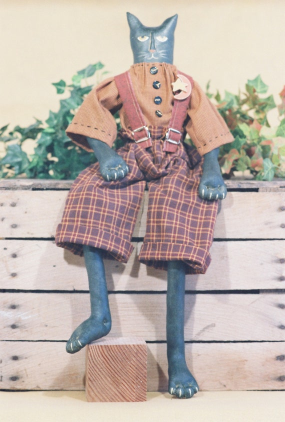 Cloth Doll E-Pattern - 24in Folkart Primitive Male Cat Epattern