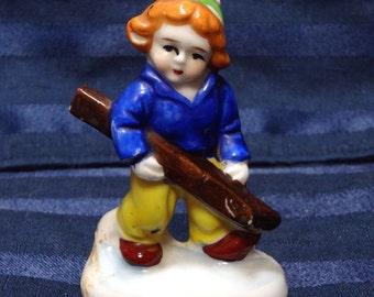 SALE Vintage Occupied Japan Ski Figurine Boy or Girl Winter Skier Skiing Porcelain
