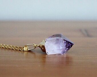 amethyst raw point necklace