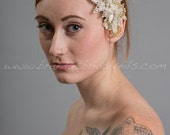 Ivory and Gold Lace Bridal Head Piece, Pearl and Lace Wedding Hair Comb, Birdcage Fascinator - Amaya