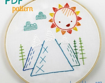 Happy Sunshine Blue Ridge Mountains Summer Hand Embroidery PDF Pattern