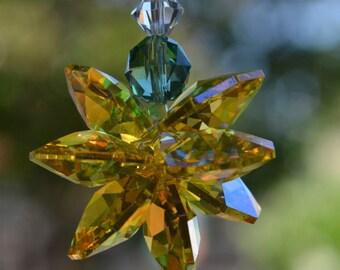 Golden Sun Hospitality Pineapple Crystal Small Starburst Suncatcher Rearview Mirror Car Charm, Hanging Crystal, Window Crystal Star