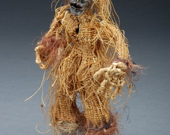 Art Doll,  Woven Fiber Art Sculpture, Hairy Clayfoot Girl, Mustard Bone and Charcoal